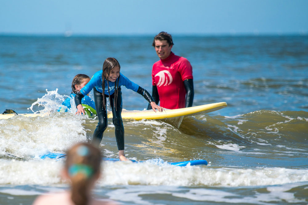 surfen met klasgenootjes